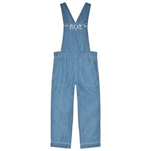 Image of Cyrillus Blue Chambray Floral Embroidered Overalls 3 years (2980466211)