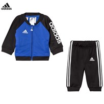 adidas Performance Blue and Black Tracksuit Top:HI-RES BLUE S18/BLACK/WHITE Bottom:BLACK/WHITE