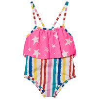 Noe & Zoe Berlin Multi Coloured Striped with Pink Star Layer Swimsuit MULTIKULTI