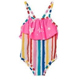 Noe & Zoe Berlin Multi Coloured Striped with Pink Star Layer Infants Swimsuit