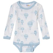 Joha Airballoon Print Long Sleeve Baby Body Blue and White Airballon