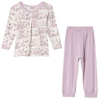Joha Summer Garden Pyjamas with Loose Trousers Pink and White Garden