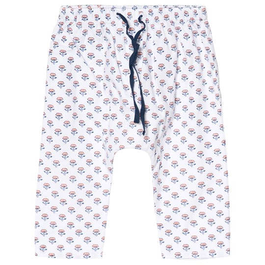 Cyrillus White Floral Print Pull Up Pants 6626