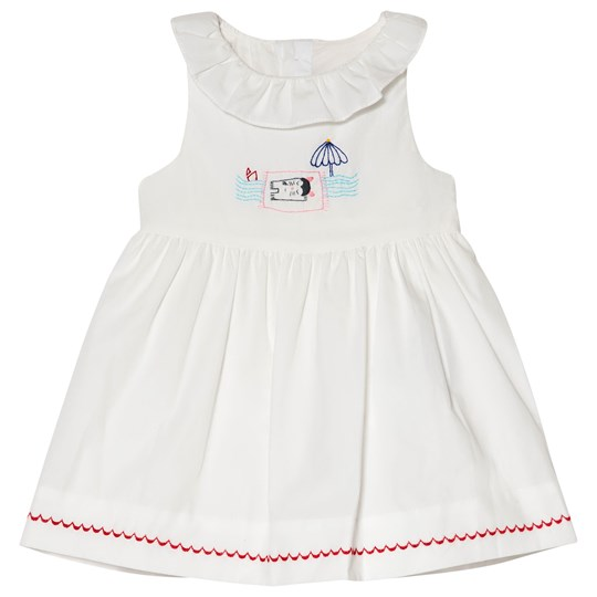 Cyrillus White Frill Cotton Dress with Cat Embroidery 6349