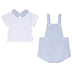 Cyrillus White Shirt and Blue Stripe Overalls Set