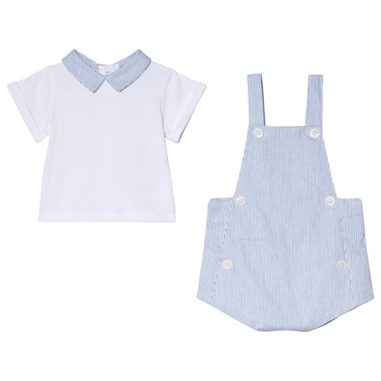 Cyrillus White Shirt and Blue Stripe Overalls Set 6408