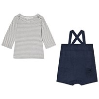 Cyrillus Navy Stripe Tee and Dungarees 6409