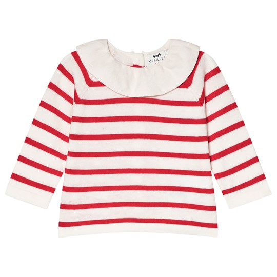 Cyrillus Red Stripe Pierrot Collar Knitted Top 6348