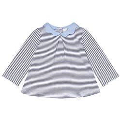Cyrillus Navy and White Stripe Sweater with Chambray Collar