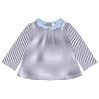 Cyrillus Navy and White Stripe jumper with Chambray Collar 6408