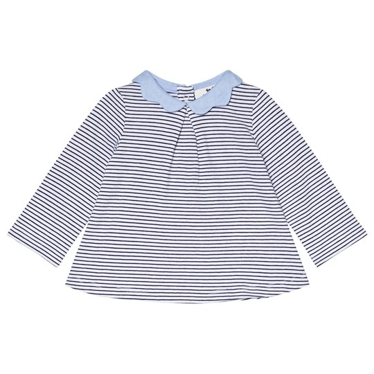 Cyrillus Navy and White Stripe Sweater with Chambray Collar 6408