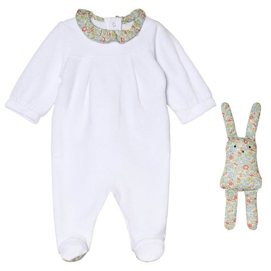 Cyrillus White Velour Footed Baby Body and Bunny Toy 6349