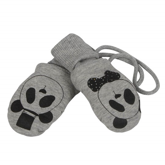 Mini Rodini Panda Baby Glove Grey Melange Black