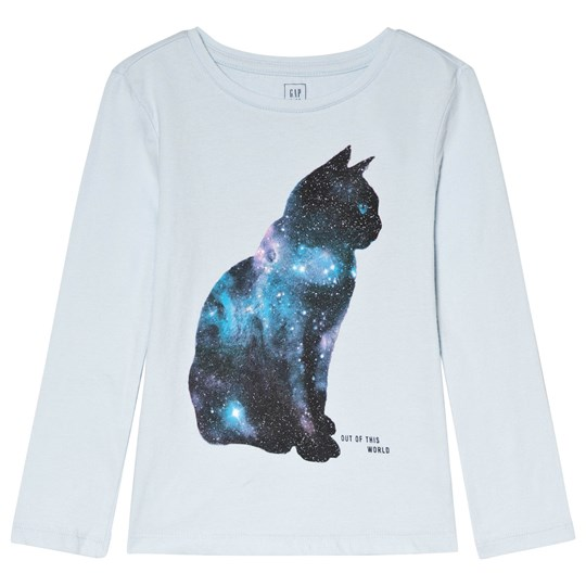 GAP Poolside Blue Cat Print Long Sleeve Tee POOLSIDE BLUE