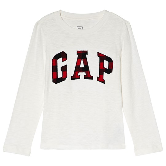 GAP Off-White Plaid Branded Long Sleeve Tee NEW OFF WHITE