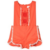 Carrément Beau Red Embroidered Pom Pom Romper 402