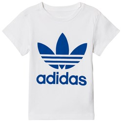 adidas Originals White and Blue Logo Kids Tee