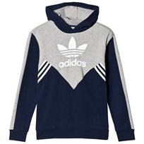 adidas Originals Navy and Grey Boys Logo Hoodie COLLEGIATE NAVY/MEDIUM GREY HEATHER/WHITE