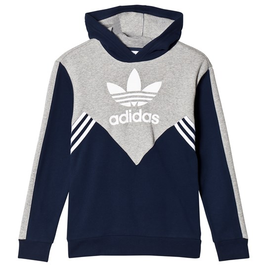 adidas Originals Navy and Gray Logo Hoodie Babyshop.dk