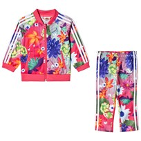 adidas Originals Pink Girls Flower Printed Infants Top and Bottoms Set MULTICOLOR/REAL PINK S18/WHITE