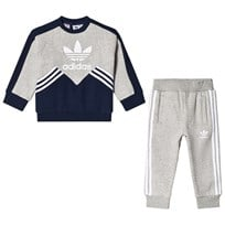 adidas Originals Grey and Navy Boys Logo Infants Sweater and Joggers Set COLLEGIATE NAVY/MEDIUM GREY HEATHER