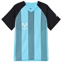 adidas Performance Grey and Blue Boys Messi Top BLACK/BRIGHT CYAN