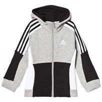 adidas Performance Grey Boys Colour Block Full Zip Hoodie MEDIUM GREY HEATHER/BLACK/WHITE