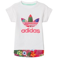 adidas Originals White Girls Flower Ptined Logo Infants Tee WHITE/MULTICOLOR