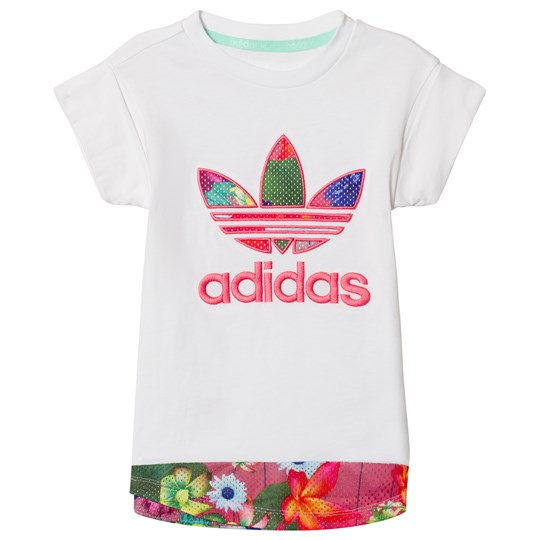 adidas Originals White Flower Printed Logo Infants T-Shirt WHITE/MULTICOLOR