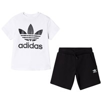 adidas Originals White and Black Boys Branded Kids Tee and Shorts Set Top:WHITE/BLACK Bottom:BLACK/WHITE