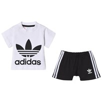 adidas Originals White and Black Boys Branded Infants Tee and Shorts Set Top:WHITE/BLACK Bottom:BLACK/WHITE