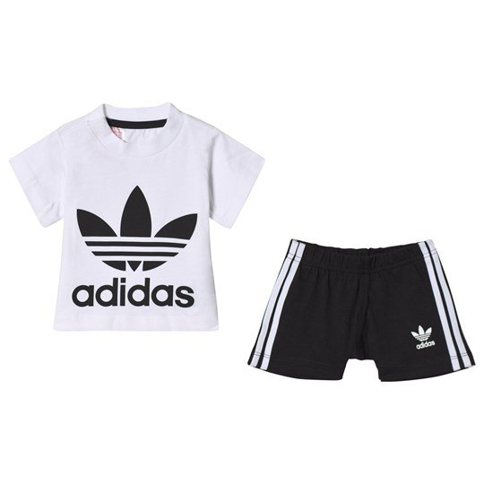 adidas Originals White and Black Branded Tee and Shorts Set Top:WHITE/BLACK Bottom:BLACK/WHITE