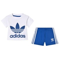 adidas Originals White and Blue Boys Branded Infants Tee and Shorts Set Top:WHITE/BLUE Bottom:BLUE/WHITE