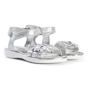 Image of Primigi Silver Sandals with White and Silver Flower Applique 35 (UK 2.5) (2983987715)