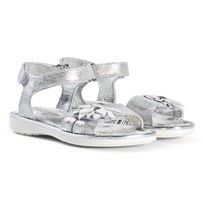 Primigi Silver Sandal with White And Silver Flower Applique 14357