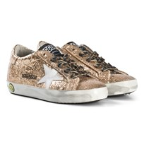 Golden Goose Gold Glitter Superstar Sneakers with Leopoard Laces GOLD GLITTER LEOPARD LACE