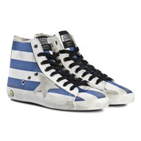 Golden Goose Blue and White Stripe Francy Star Trainers WHITE BLUE STRIPS-ICE STAR
