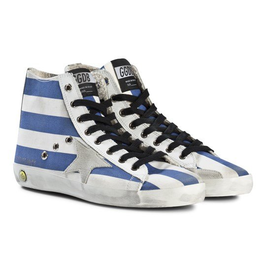 Golden Goose Blue and White Stripes Francy Star Trainers WHITE BLUE STRIPS-ICE STAR