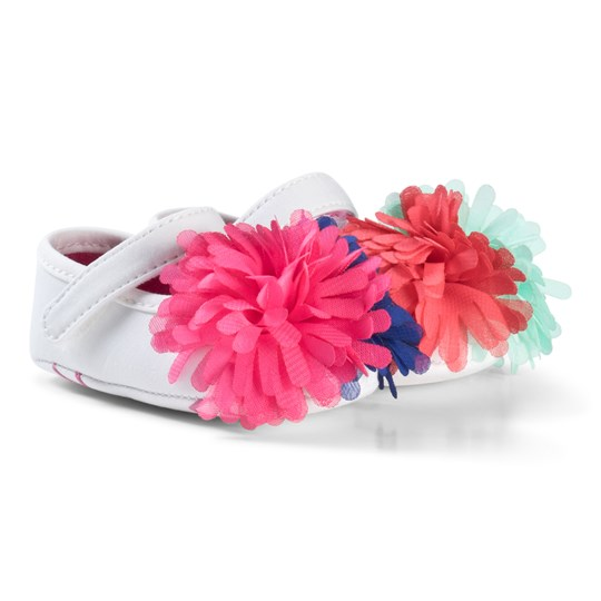 Agatha Ruiz de la Prada White Multicolored Pom Pom Shoes W00