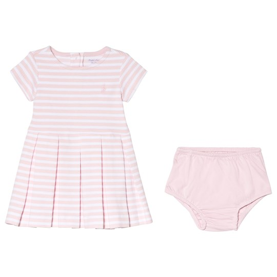 Ralph Lauren Pink Stripe Ponte Frill Dress 001