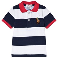 Ralph Lauren Striped Big Pony Polo Shirt Navy and White 002