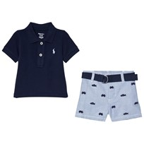 Ralph Lauren Pique Polo Shirt and Fish Embroidered Shorts Set Blue and Navy 001