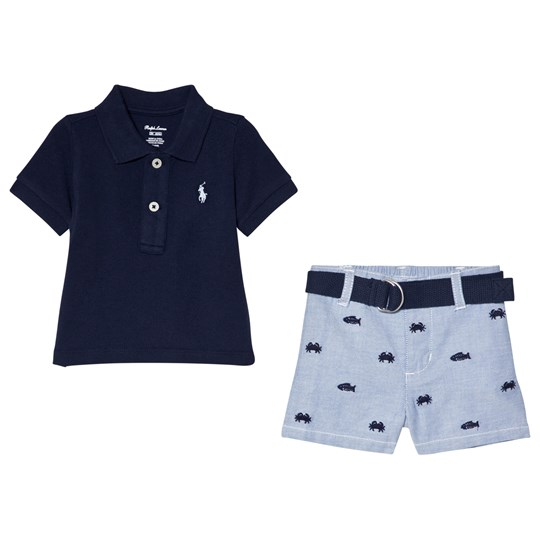 a00a2530 Ralph Lauren - Pique Polo Shirt and Fish Embroidered Shorts Set Blue ...