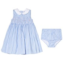 Ralph Lauren Blue Stripe Smocked Dress with Rose Embroidery 001