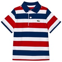 Lacoste Red and Blue Stripe Jersey Classic Tennis Ribbed Collar Shirt Marino/White-Red