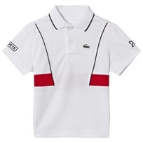 Lacoste White and Red Ultra Dry Tennis Ribbed Collar Shirt KEJ