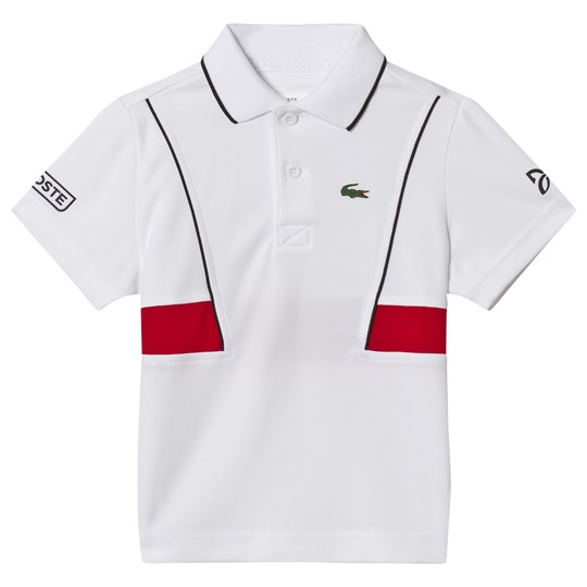 Lacoste White and Red Novak Djokovic Collection Tennis Ribbed Collar Shirt KEJ