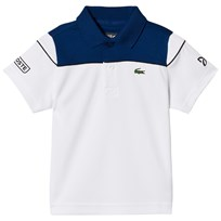 Lacoste White and Blue Ultra Dry Tennis Ribbed Collar Shirt White/Blue