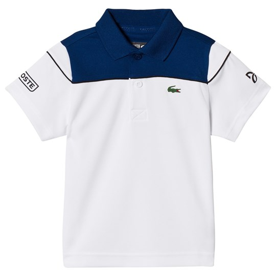 Lacoste White and Blue Novak Djokovic Tennis Ribbed Collar Shirt White/Blue