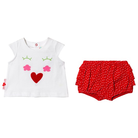 Agatha Ruiz de la Prada White and Red Face T-Shirt and Spotted Shorts R00